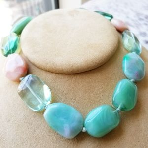 Jewelry - Hand Knotted Aqua & Coral Bead Necklace